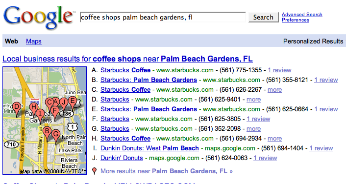 Search for coffee shops in Palm Beach Gardens, FL