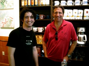 Jeremy and David before a coffee cupping!